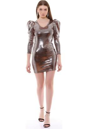 Joyin Joy Altın Payetli Detaylı ElbiseJoy1201