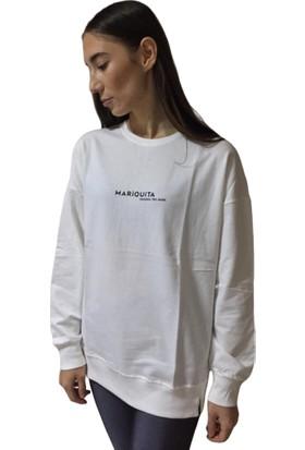 Babaco Kadın Beyaz Marıquıta Baskılı Sweatshirt