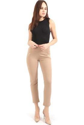 Sense Kadın Süs Metal Fermuar Cepli Twin Krep Pantolon Pnt32348