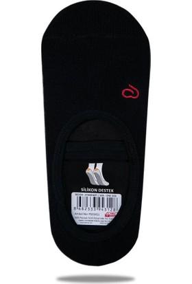 Ebru Şallı Siyah Silikon Tabanlı Pilates Yoga Çorabı