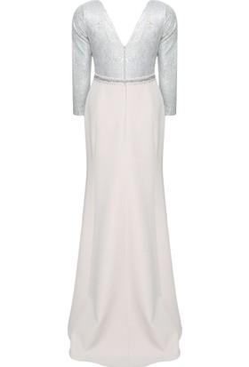 Mileny Kadın Simli Abiye Elbise Vizon