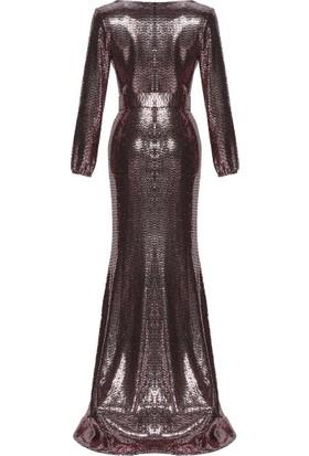 Mileny Kadın Kemerli Abiye Elbise Bakır
