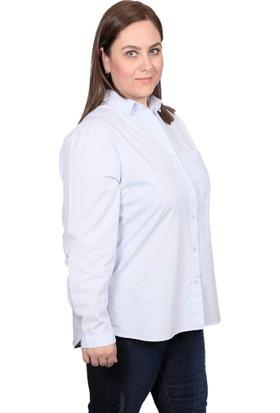 Enrico Pinaldi Büyük Beden Kadın Gömlek 8527 Açık Mavi