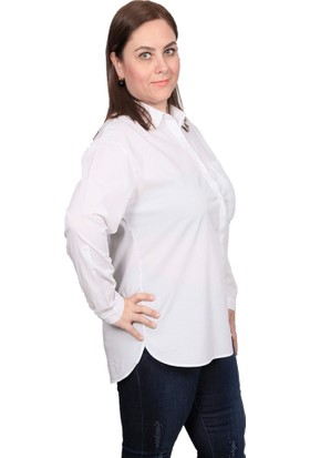 Enrico Pinaldi Kolu Katlanabilir Büyük Beden Kadın Beyaz Gömlek