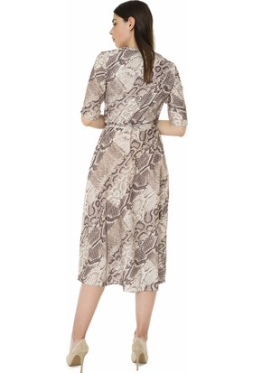 For You Moda Kadın Yılan Desenli Maxi Elbise