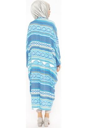 Modanaz Yarasa Kollu Desenli Kadın Tunik Mavi