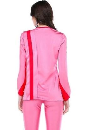 Tantrona Parlak Örme Kumaş Pembe/Kırmızı Spor Uzun Bluz
