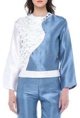 Tantrona Lazer Kesim Tantrona Logolu Beyaz/Mavi Dantel Bluz