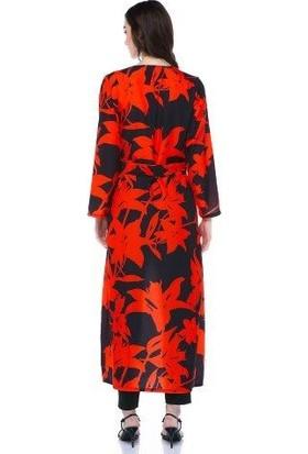 Tantrona Omuz Pileli Dizayn Yazlık Uzun Kimono