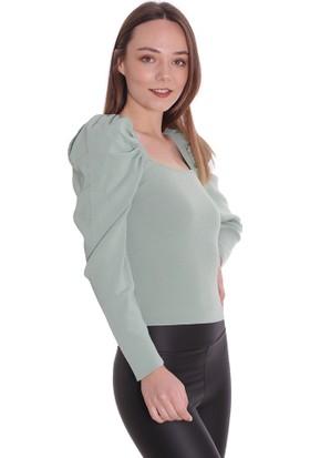 Dilvin Kadın Kare Kol Büzgülü Kazak T2250 Mint/Aqua 29W78002250