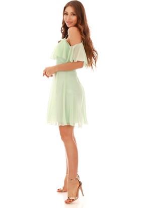 Carmen Mint Askılı Düşük Kollu Kısa Abiye Elbise
