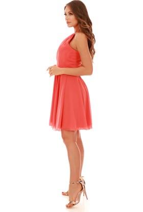 Carmen Turuncu Beli Saten Askılı Kısa Abiye Elbise