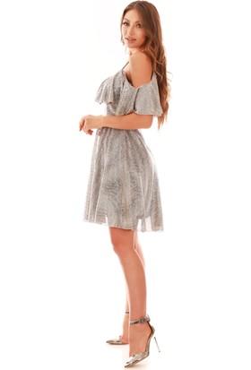 Carmen Bakır Simli Düşük Kollu Askılı Kısa Abiye Elbise