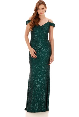Carmen Zümrüt Payetli Kayık Yaka Uzun Abiye Elbise