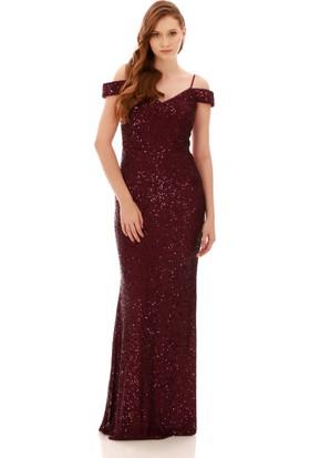 Carmen Mor Payetli Kayık Yaka Uzun Abiye Elbise