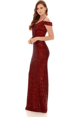 Carmen Bordo Payetli Kayık Yaka Uzun Abiye Elbise