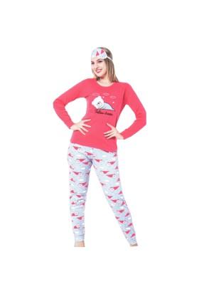 Mirano | Kadın Interlok Pijama Takımı Uyku Bantlı Uzun Kol