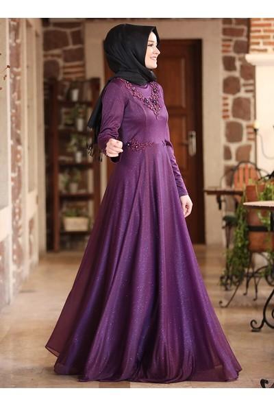 Amine Hüma Kadın Buhara Abiye Elbise Mor