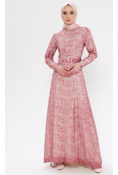 Mileny Kadın Simli Abiye Elbise Pudra