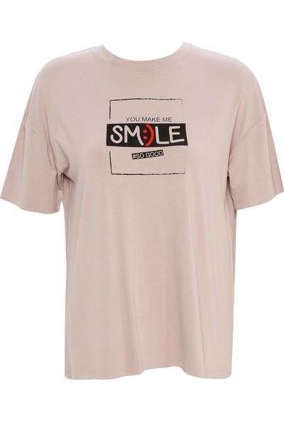 Meys Kadın Smile Tişört Vizon