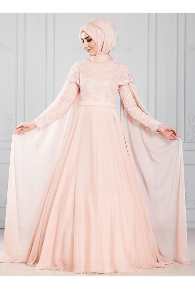 Somfashion Kadın Tül Detaylı Incili Abiye Elbise Pudra