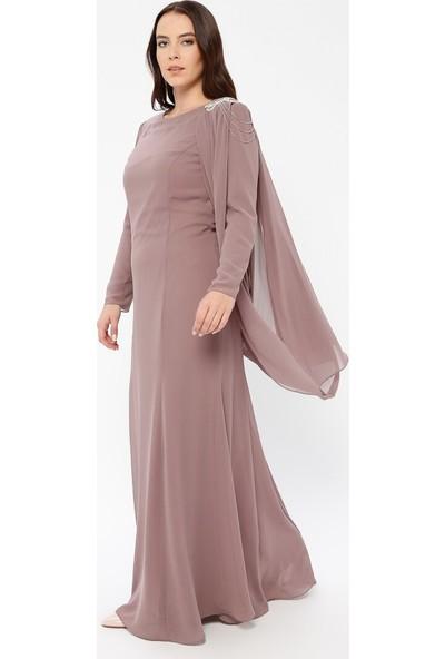 Sevdem Abiye Kadın Üzeri Tül Detaylı Omuzu Taşlı Elbise Vizon Sevdem