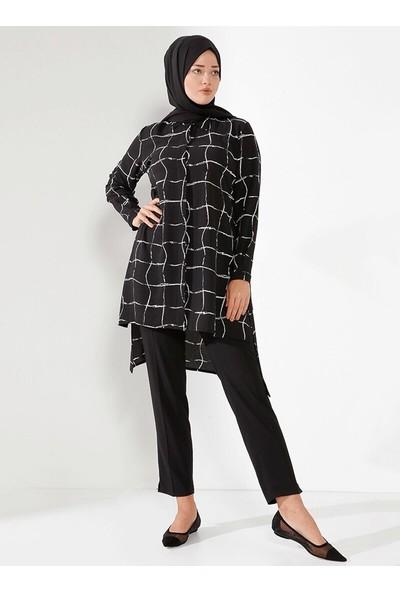 Nilüfer Kamacıoğlu Tunik Pantolon Takım Siyah Beyaz