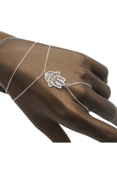 Takı Mağaza 925 Ayar Gümüş Zincirli Fatma Ana Eli Şahmeran