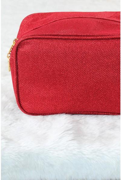 Eburada MCN751 Kırmızı Renk Kare Form Makyaj Çantası
