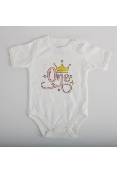 Miniço Taç Baskılı Yarım Kol Bebek Çıtçıtlı Body Beyaz