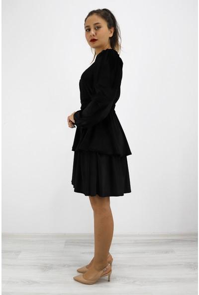 Skdress Kadife Kumaş Mini Elbise