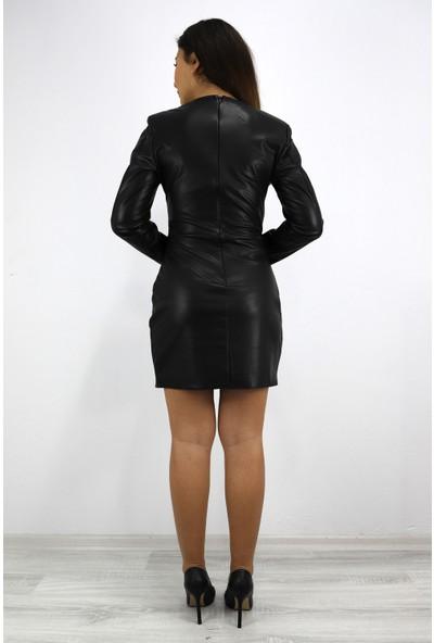 Skdress Şardonlu Deri Kumaş Mini Elbise