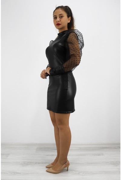 Skdress Deri Kumaş Içi Şardonlu Karpuz Kol Mini Elbise