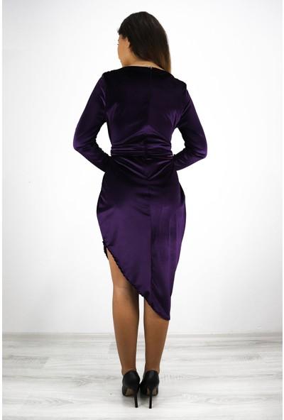 Skdress V Yaka Kadife Kumaş Elbise