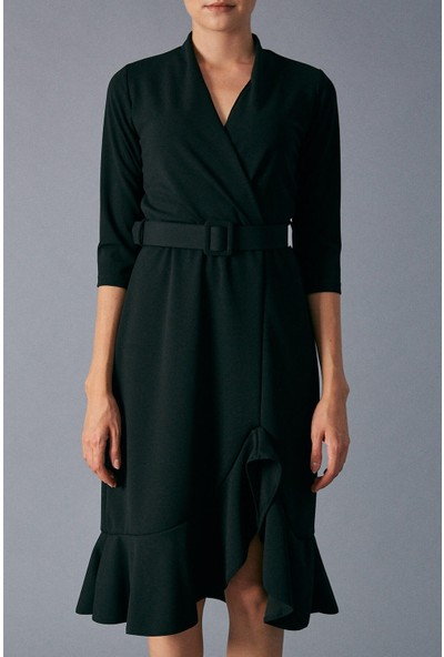 Robin Kemer Detaylı Kadın Siyah Elbise