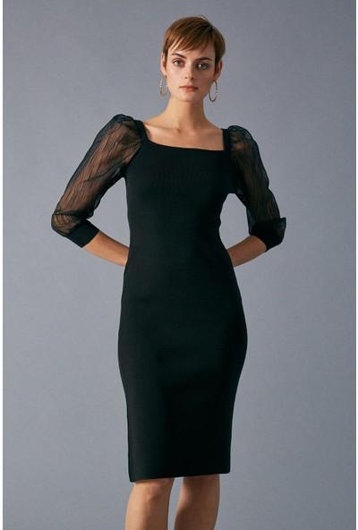 Robin Kolları Transparan Triko Kadın Siyah Elbise