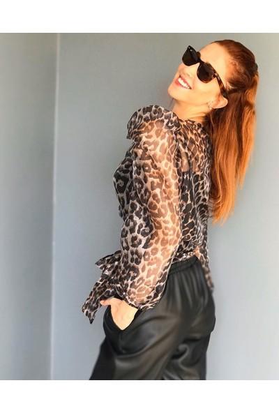 Pika Kadın Leopar Desenli Bluz