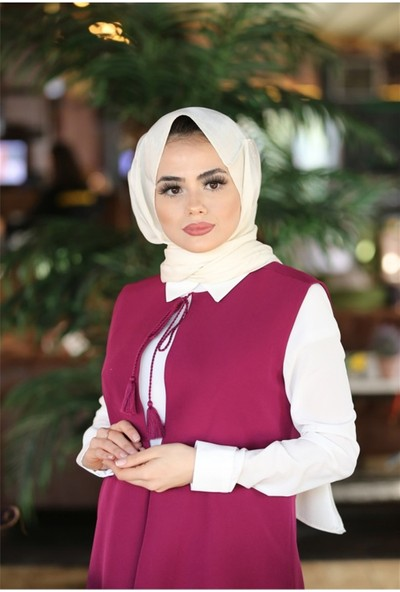 Benguen Eqru Gömlek Yaka Bluz-Yelek Ikili Takim 9025 - Mürdüm