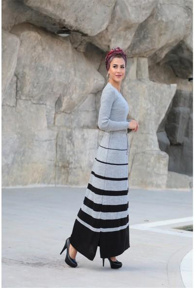Moda Ekru Çizgili Triko Elbise Gri 507