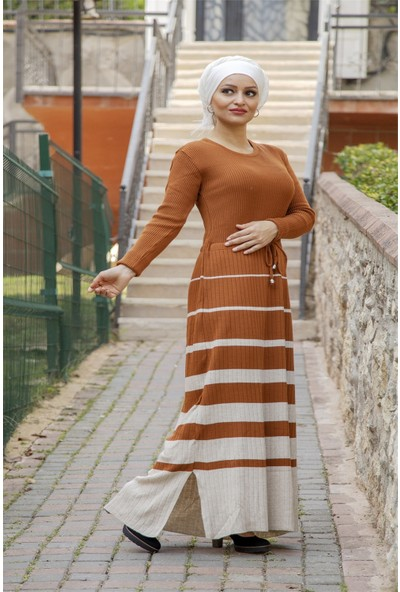Moda Ekru Çizgili Triko Elbise Taba 507