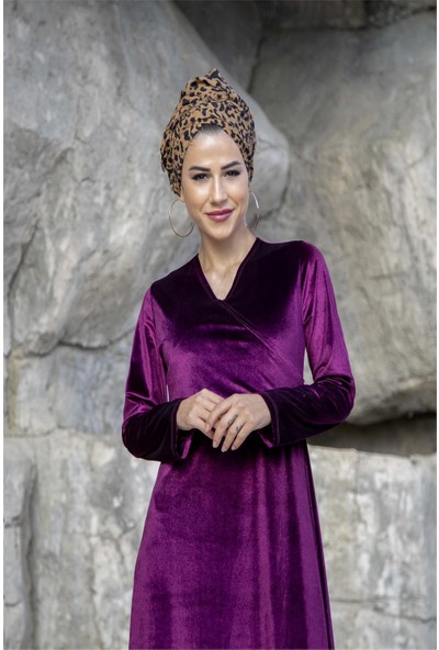 Moda Ekru Kruvaze Yakali Kadife Elbise Mor 19K33