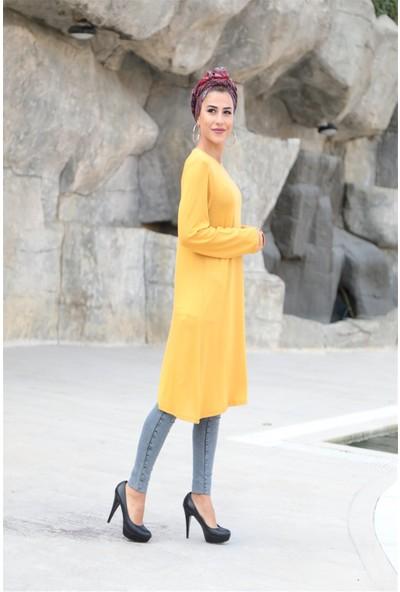 Moda Ekru Boncuk Işlemeli Cepli Tunik Hardal 19K48
