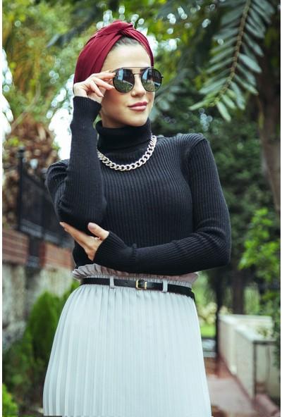 Moda Ekru Boğazli Triko Badi Siyah 4001