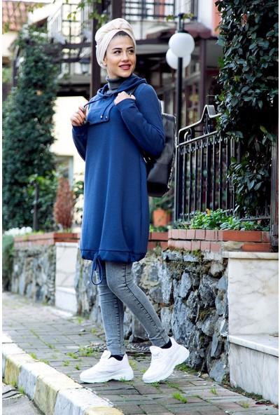 Moda Ekru Kuş Gözlü Kapşonlu Tunik Indigo 19K76