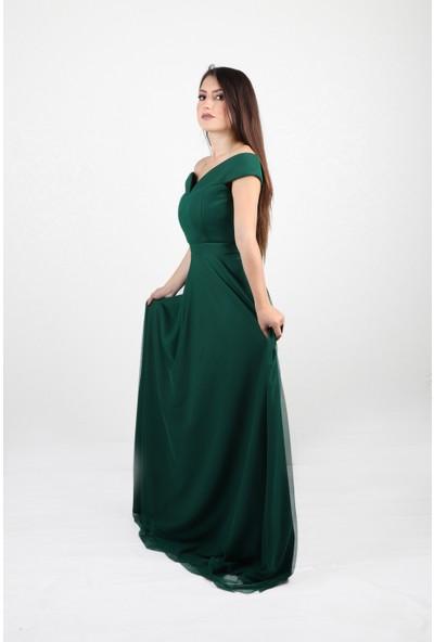 ADR Balerin Yaka Tül Uzun Abiye Elbise