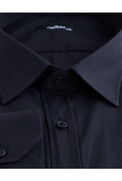 Tudors Büyük Beden Siyah Erkek Gömlek