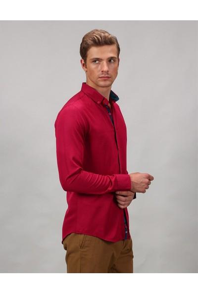 Tudors Dar Kalıp Bordo Spor Erkek Gömlek