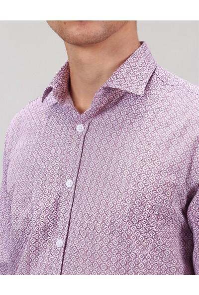 Tudors Klasik Kesim Bordo Baskılı Erkek Gömlek