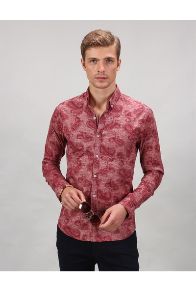Tudors Extra Dar Kesim Çiçek Desenli Gömlek
