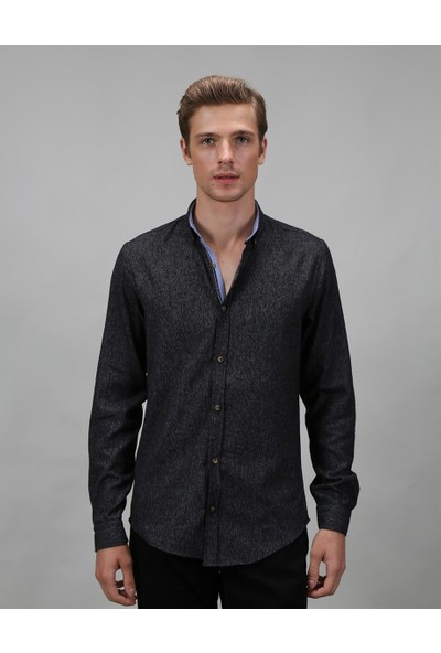 Tudors Dar Kesim Siyah Kışlık Erkek Gömlek